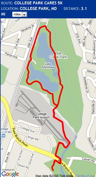 College Park Cares 5k map